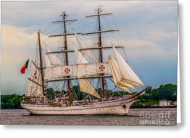 Sailing Ship Greeting Cards - Tall Ship - Sagres Greeting Card by Nick Zelinsky