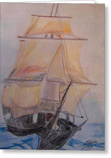 Tall Ships Pastels Greeting Cards - Tall Ship Greeting Card by Sandra Sass