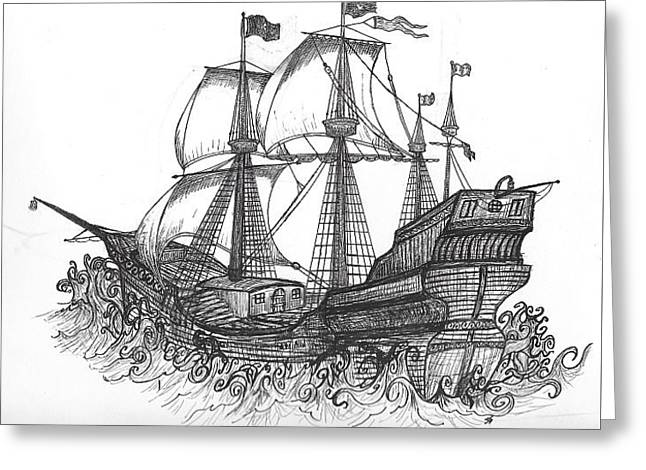 Tall Ships Drawings Greeting Cards - Tall Ship Greeting Card by Shane Silva