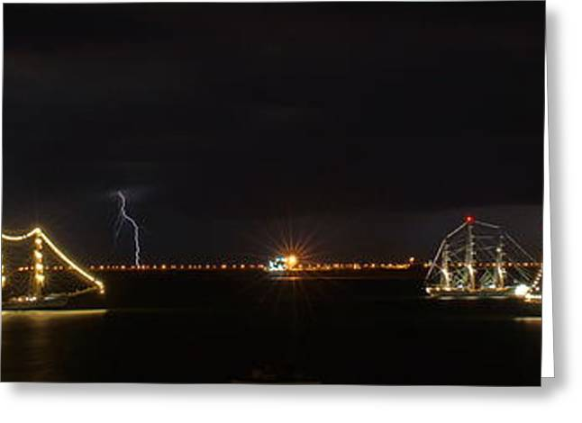 Tall Ships Greeting Cards - Tall Ships During Storm Greeting Card by Alan Hutchins