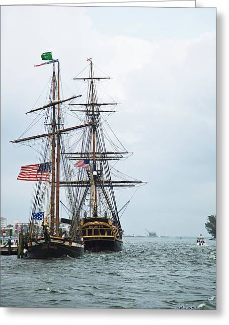 Tall Ships Greeting Cards - Tall Ships HMS Bounty and Privateer Lynx at Peanut Island Florida Greeting Card by Michelle Wiarda
