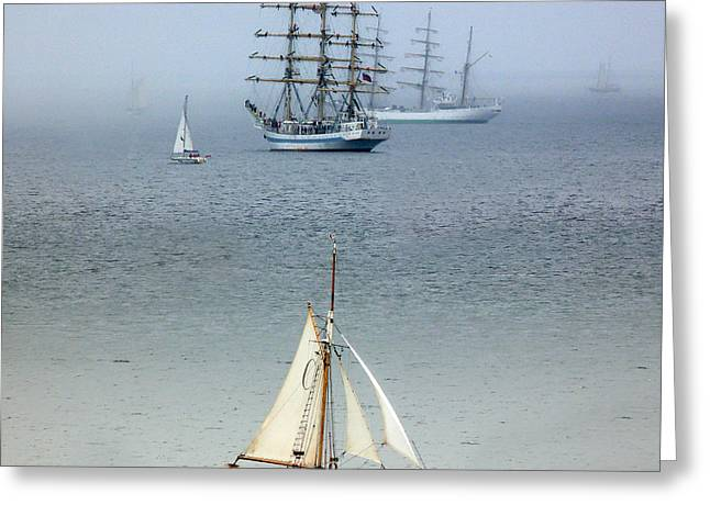 Tall Ship Greeting Cards - Tall Ships in the Mist Greeting Card by Lynn Bolt