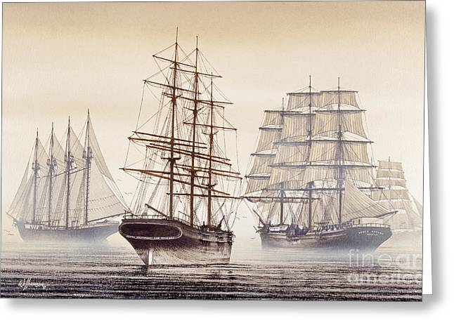Artist James Williamson Maritime Print Greeting Cards - Tall Ships Greeting Card by James Williamson