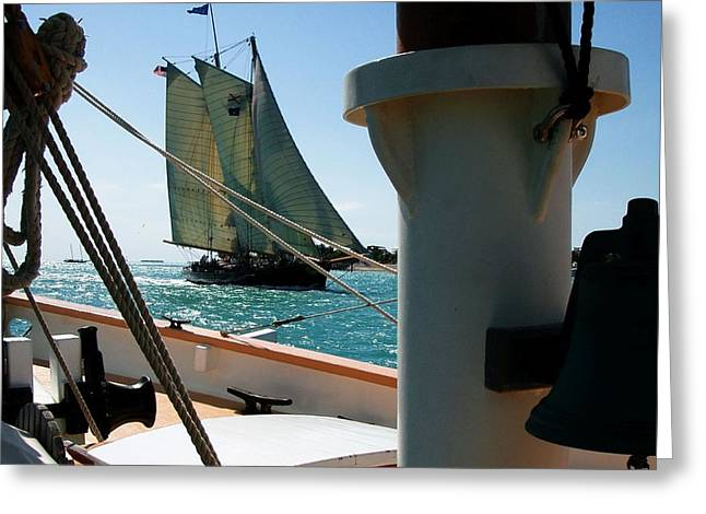 Tall Ships Greeting Cards - Tall ships passing in Key West Greeting Card by Steven Scarborough