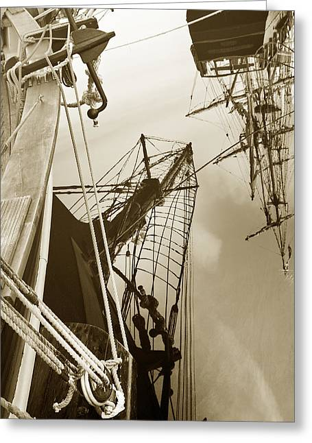 Tall Ships Greeting Cards - Tall Ships Reflected Greeting Card by Robert Lacy