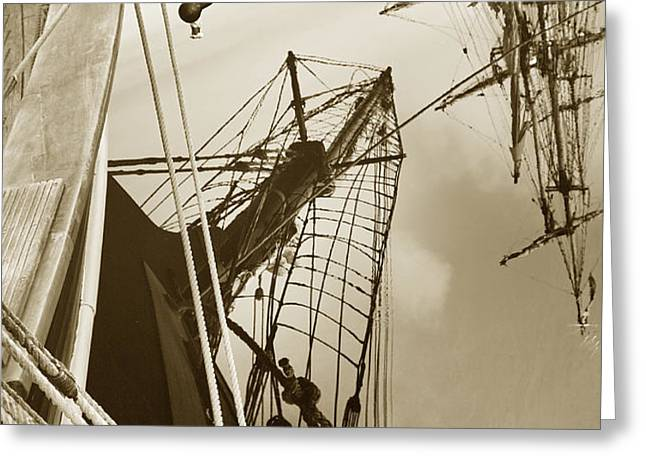 Tall Ships Reflected Greeting Card by Robert Lacy