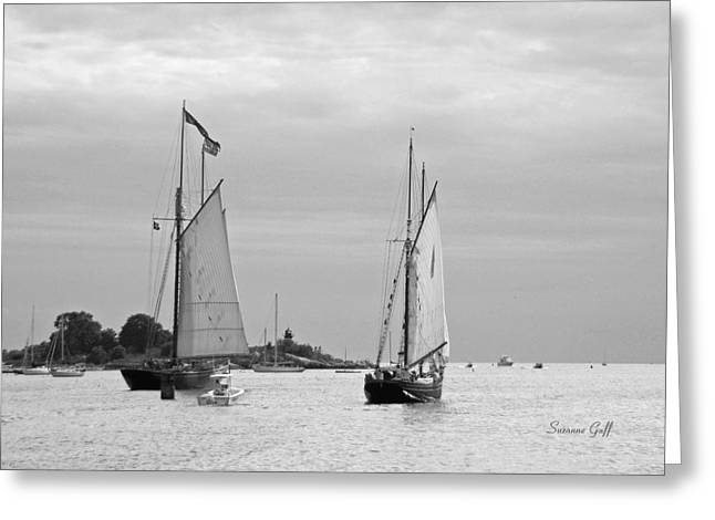 Tall Ships Sailing I in black and white Greeting Card by Suzanne Gaff