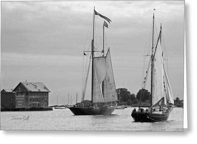 Sailboat Art Greeting Cards - Tall Ships Sailing II in black and white Greeting Card by Suzanne Gaff