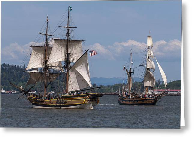Tall Ships Greeting Cards - Tall Ships Square Off Greeting Card by Robert Potts