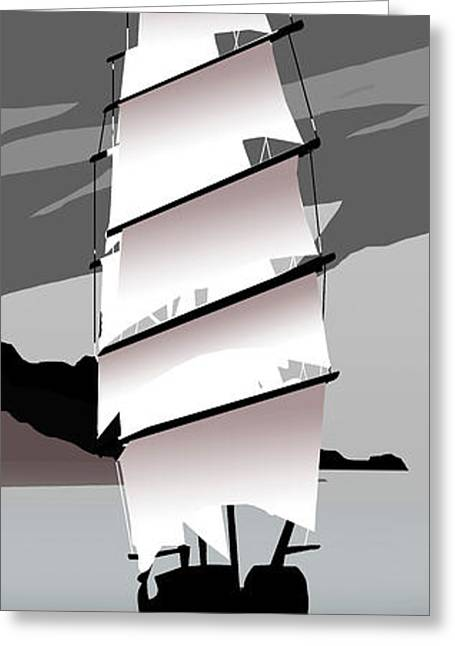 Yellow Sailboats Greeting Cards - Tall Ships Stars and Stripes Greeting Card by Peter Stevenson