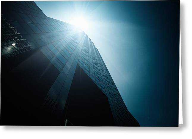 Geometric Image Greeting Cards - Tall skyscraper seen from bottom Greeting Card by Leonardo Patrizi
