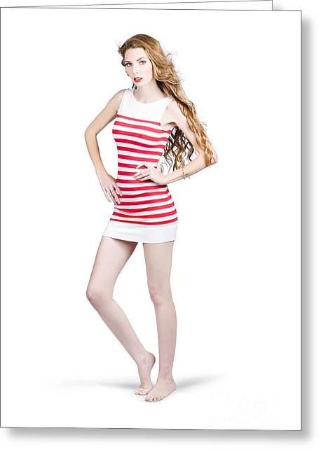 Tall Slim Retro Fashion Woman On White Background Greeting Card by Jorgo Photography - Wall Art Gallery
