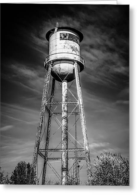 Public Water Supply Greeting Cards - Tall  water tower with cloudy blue sky background Greeting Card by Alexandr Grichenko