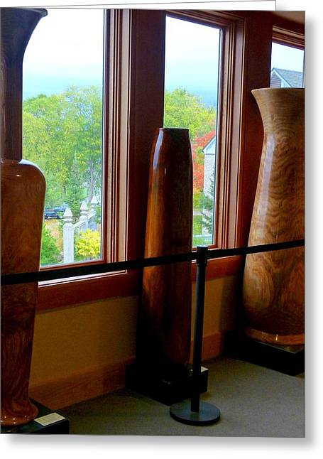 Wooden Sculpture Greeting Cards - Tall Wooden Art Vases Greeting Card by Will Borden