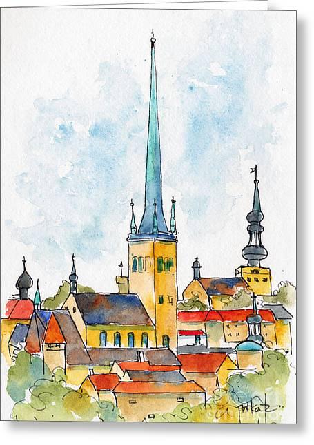Tallinn Skyline Greeting Card by Pat Katz