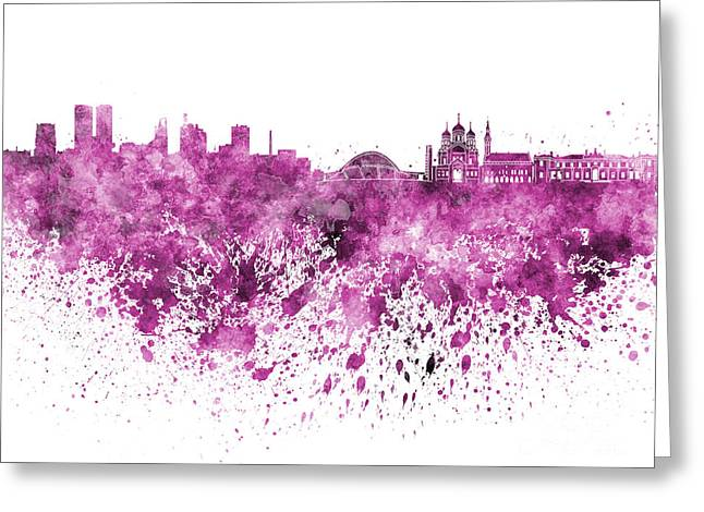 Tallinn Greeting Cards - Tallinn skyline in pink watercolor on white background Greeting Card by Pablo Romero