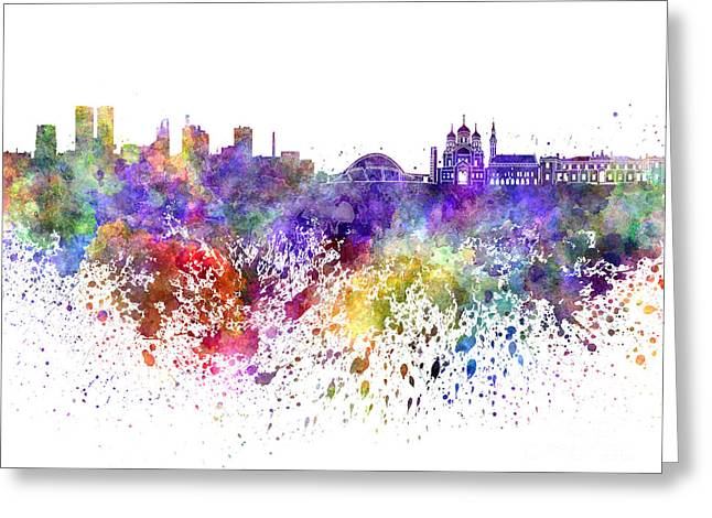 Tallinn Greeting Cards - Tallinn skyline in watercolor on white background Greeting Card by Pablo Romero