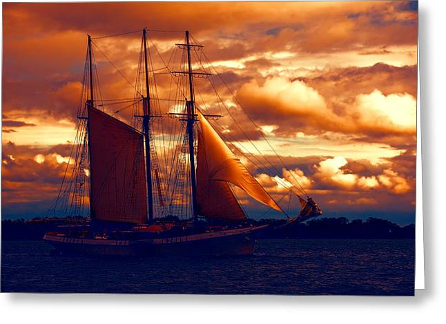 Turbulent Skies Greeting Cards - Tallship - Moody Blues and Powerful Oranges Greeting Card by Georgia Mizuleva