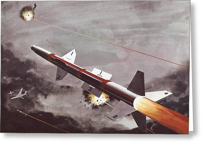 Space-plane Greeting Cards - Talos Surface To Air Missile Greeting Card by American School