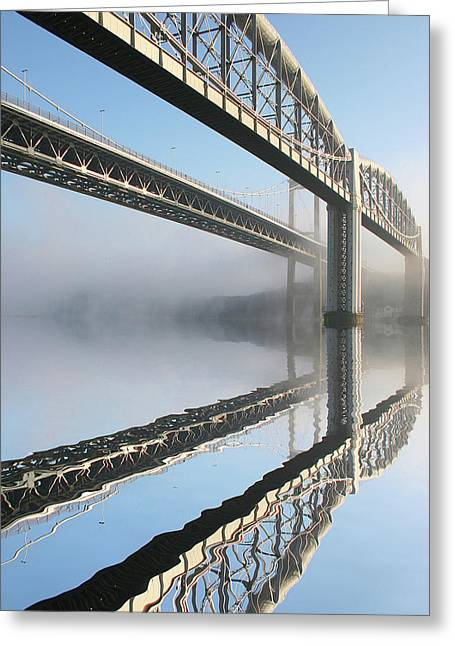 Toll House Greeting Cards - Tamar road bridge and Brunel rail bridge Greeting Card by Mark Stokes