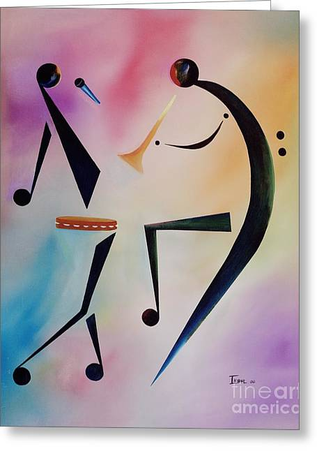 Beckford Paintings Greeting Cards - Tambourine Jam Greeting Card by Ikahl Beckford