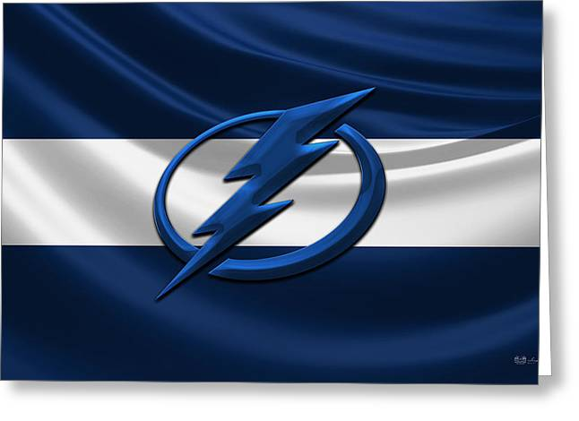 Hockey Memorabilia Greeting Cards - Tampa Bay Lightning - 3D Badge over Silk Flag Greeting Card by Serge Averbukh