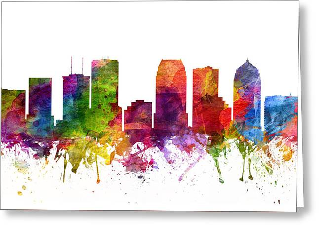 Tampa Skyline Greeting Cards - Tampa Cityscape 06 Greeting Card by Aged Pixel