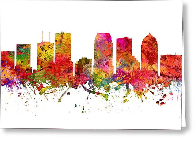 Tampa Skyline Greeting Cards - Tampa Cityscape 08 Greeting Card by Aged Pixel