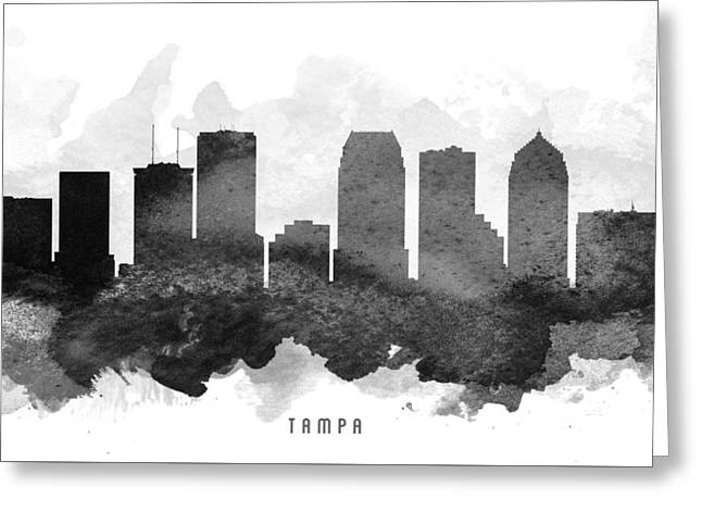 Tampa Skyline Greeting Cards - Tampa Cityscape 11 Greeting Card by Aged Pixel