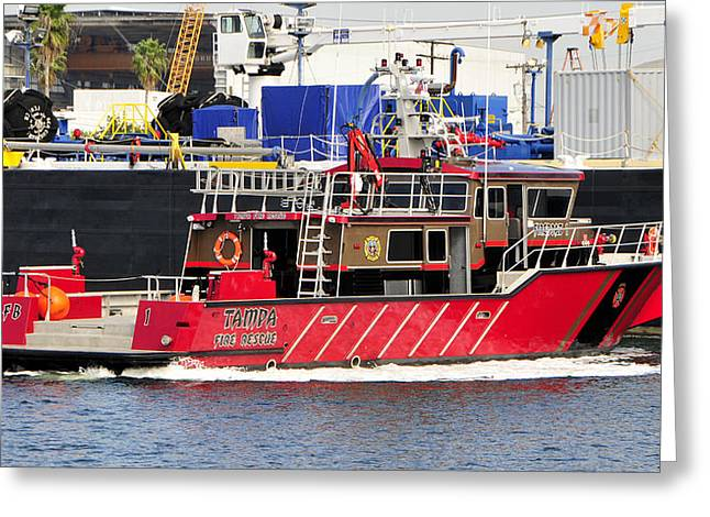 Fireboat Greeting Cards - Tampa Fire Rescue boat Greeting Card by David Lee Thompson