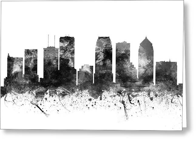 Tampa Skyline Greeting Cards - Tampa Florida Cityscape 02BW Greeting Card by Aged Pixel