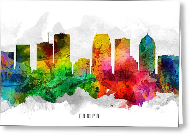 Tampa Greeting Cards - Tampa Florida Cityscape 12 Greeting Card by Aged Pixel