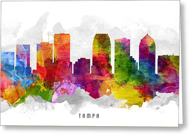 Tampa Greeting Cards - Tampa Florida Cityscape 13 Greeting Card by Aged Pixel