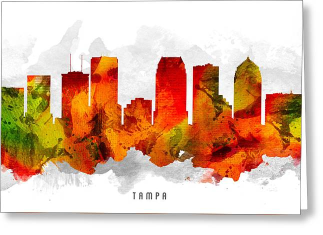 Tampa Greeting Cards - Tampa Florida Cityscape 15 Greeting Card by Aged Pixel