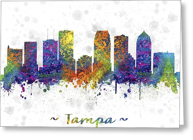 Tampa Skyline Greeting Cards - Tampa Florida Skyline Color 03SQ Greeting Card by Aged Pixel