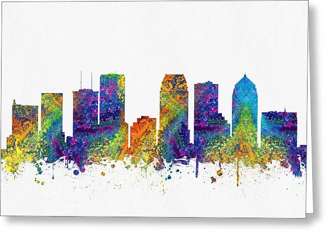 Tampa Skyline Greeting Cards - Tampa Florida Skyline color03 Greeting Card by Aged Pixel