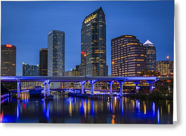Tampa Skyline Greeting Cards - Tampa Night Greeting Card by Mike Lang