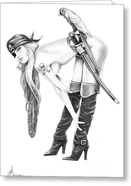 Boots Drawings Greeting Cards - Tampa Pirate Greeting Card by Murphy Elliott
