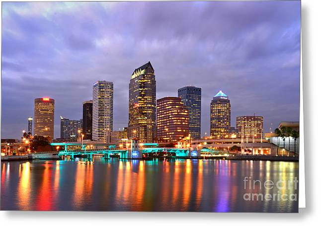 Tampa Skyline Greeting Cards - Tampa Skyline at Dusk Early Evening Greeting Card by Jon Holiday