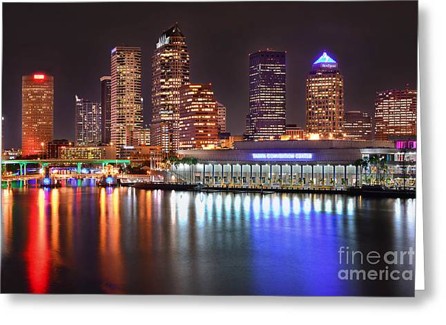 Tampa Skyline Greeting Cards - Tampa Skyline at Night Early Evening Greeting Card by Jon Holiday