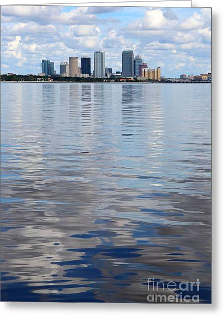 Tampa Skyline Greeting Cards - Tampa Skyline over the Bay Greeting Card by Carol Groenen