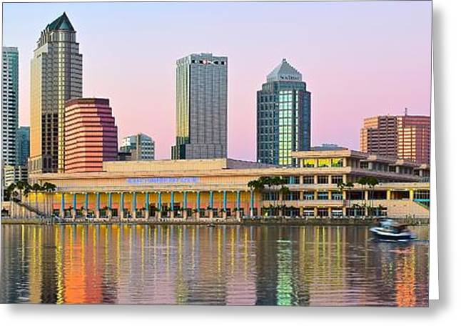 Buccaneer Greeting Cards - Tampa Sunset Panoramic Scene Greeting Card by Frozen in Time Fine Art Photography
