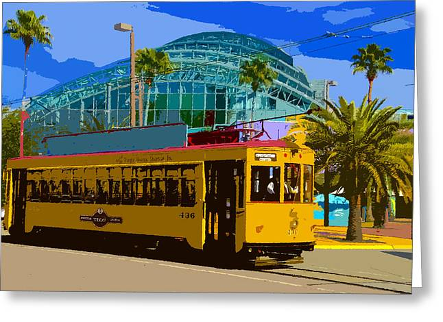 Ybor City Greeting Cards - Tampa Trolley Greeting Card by David Lee Thompson
