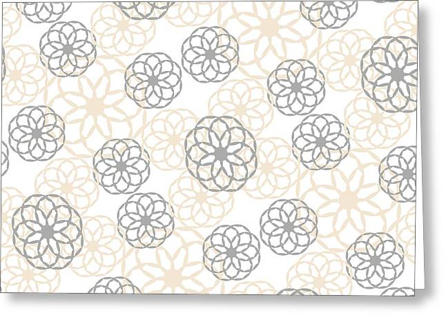 Tan And Silver Floral Pattern Greeting Card by Christina Rollo