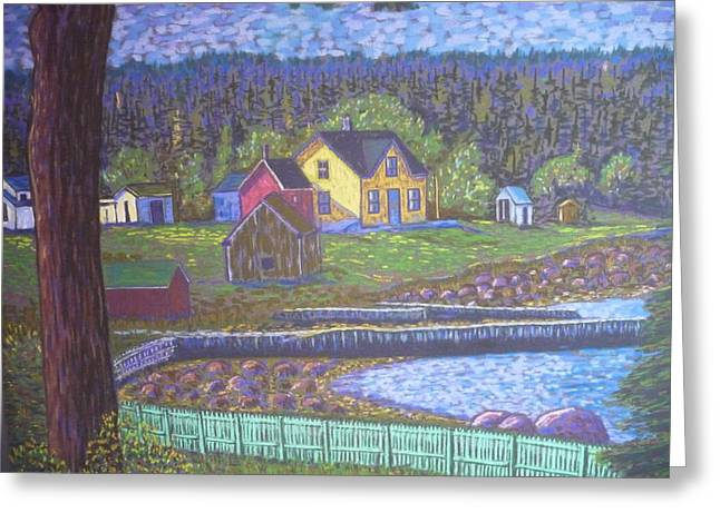 Ocean Shore Pastels Greeting Cards - Tancook Houses Greeting Card by Rae  Smith