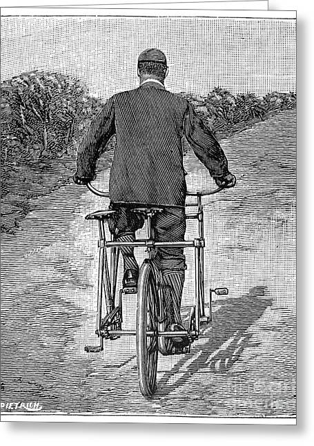 Tandem Bicycle Greeting Cards - Tandem Bicycle, 1896 Greeting Card by Granger