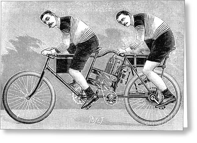 Tandem Bicycle Greeting Cards - Tandem Motorcycle, 1899 Greeting Card by Granger
