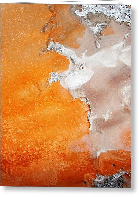 Tangerine Photographs Greeting Cards - Tangerine Orange Geyser Pool of Yellowstone Greeting Card by The Forests Edge Photography - Diane Sandoval