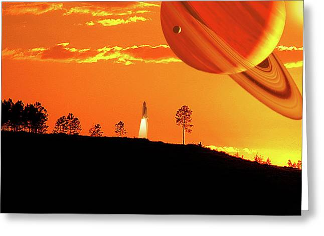Tangerine Skies Greeting Card by Adele Moscaritolo