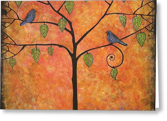 Tree Of Life Greeting Cards - Tangerine Sky Greeting Card by Blenda Studio